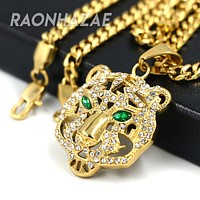 316L Solid Stainless Steel Hip Hop Drake Green Tiger Pendant w/ 5mm Miami Cuban Chain
