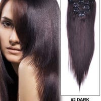 """14"""" 100% Remy Clip In Hair Extensions Dark Brown"""