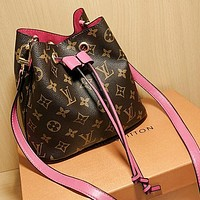 LV Louis Vuitton Hot Sale Classic Coffee Printed Letters Drawstring Bucket Bag Cosmetic Bag Messenger Bag Shoulder Bag