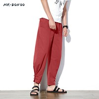 MRDONOO Chinese wind flax male loose thin cotton casual trousers retro plate feet pants male summer Harlan pants