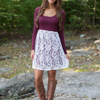 Purple & White Lace Long Sleeve Dress
