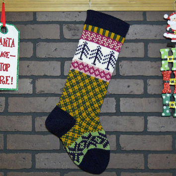 Navy Blue Plaid Knitted Christmas Stocking, Hand Knit with Purple Trees and Snowflakes, Fair Isle, Can be Personalized, Housewarming Gift
