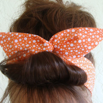 Dolly Bow Wire Headband Orange Funky Polka Dots Rockabilly Pin Up Hair Accessory for  Teens Women Girls