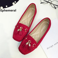 Women's Square Toe Tassel CC Sequined European American Style Lady Flock Big size 34-41 Flat Loafer Shoes OL Flattie Slip-On Red