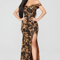 Roselyn Off Shoulder Floral Dress - Gold