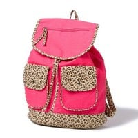 Neon Leopard Print Trim Backpack  | Claire's
