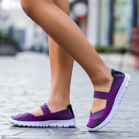 2017 Fashion Womens Weave Shoes Spring Autumn Mixed Color Checkered Breathable Sport Casual Shoes Loafers Tenis Feminino O1183