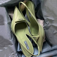 PRADA new product triangle logo ladies high heel sandals slippers Shoes Green