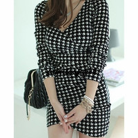Fashion V-Neck Houndstooth Bodycon Long Sleeve Women's Dress (Color: Black) = 1842765444