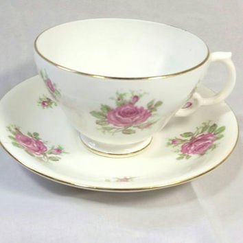 Vintage Adderley Bone China Lawley England Teacup and Saucer/Pink Floral Tea Cup/Rose Bone China Teacup/Mothers Day Gift/Brides Gift