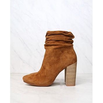 Final Sale - CL x KC - Georgie Kid Suede Caramel Slouchy Bootie - Caramel
