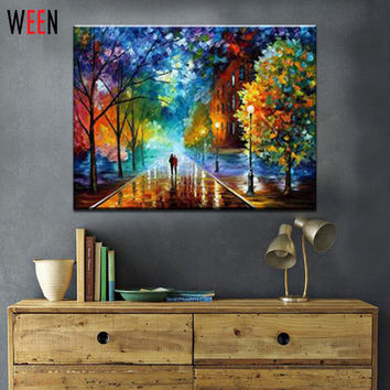 1 Pcs Rural Landscape Painting by Number DIY Oil Paint 40X50CM Canvas Art Lovers Walks In the Street Oil Painting Home Decor