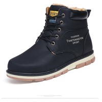 Keep Warm Men Winter Boots Pu Leather Wear Resisting Casual Shoes Working Men Boots