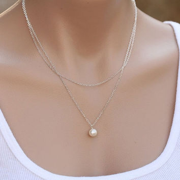 2015 Fashion Jewelry Elegant Womens Simple 2 Layers Pearl Necklace Chain Gifts = 1958348996