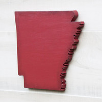 Arkansas or any US state shape sign wood cutout wall art. 24 Colors. Wedding Housewarming College Sports Fan Decor Gift