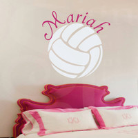 """Girl Name Wall Decals -Volleyball Wall Name Decal- Girl Baby Nursery 22""""H x 22""""W"""