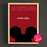 Vintage Mickey Mouse a Friend is Waiting Disneyland Attraction Poster Reprint Home Wall Decor Gift Linen Print - Buy 2 Get 1 FREE - 380s2g