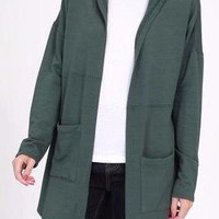 Autumn Hooded Cardigan in Forest Green