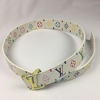 LV Stylish Unisex Smooth Buckle Belt Colorful Print Leather Belt White I