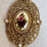 Filigree Brooch with Pink Rose Cabochon-Victorian Look-Gold Tone-Vintage - Oval Victorian Style Filigree Brooch with Faux Pearls