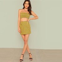 Plaid Shirred Tubetop & Skirt Set