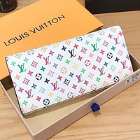 LV Louis vuitton Fashion New Multicolor Monogram Print Leather Women Wallet Purse Handbag White