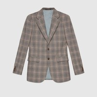 Gucci Retro check wool single breasted jacket