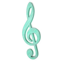 Large Treble Clef G Clef Wall Art, mint green and silver shimmer hand painted, music decor, musical wall hanging, industrial art
