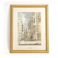 Vintage Framed Arabian Lithograph - Old Jeddah Architecture Print- A Twisting Alley Through Old Town Jeddah