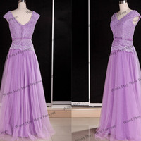 Purple Lace tulle two shoulder long evening dress,long prom dresses,long lace prom dresses,long lace bridesmaid dress,prom dresses,prom dres