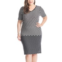 Women's Plus Size Zigzag Print V-Neck Dress