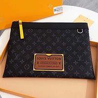 LV Fashion New Monogram Print Leather Cosmetic Bag File Package Handbag Black