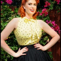 Ella Blouse in Yellow Bee Print with Bow | Pinup Girl Clothing