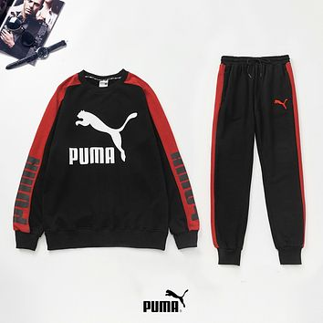 PUMA New fashion letter print long sleeve top and pants two piece suit Black