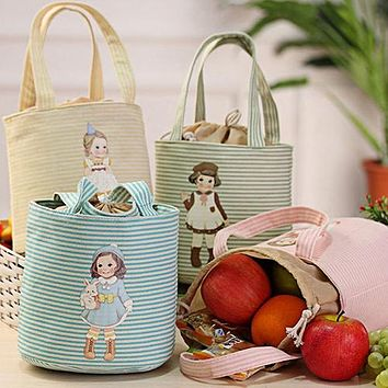 Cute Girl Print Thermal Insulated Lunch Storage Cooler Case Pouch Lunch Box