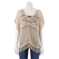 Takeout Fringe Openwork Poncho - Juniors