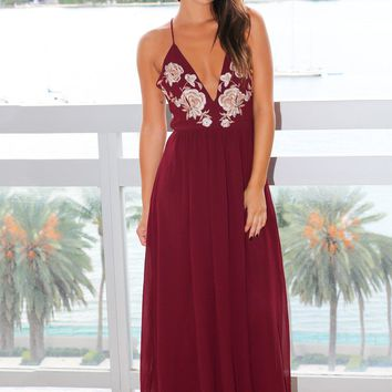 Wine Maxi Dress with Floral Embroidery