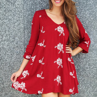 Crimson Sweet Embroidered Dress
