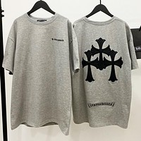 Chrome Hearts Trending Women Men Casual Grey Round Collar T-Shirt Top