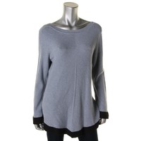 Nic + Zoe Womens Ribbed Knit Contrast Trim Pullover Sweater