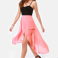 Young Love Glitter High-Low Pink Dress
