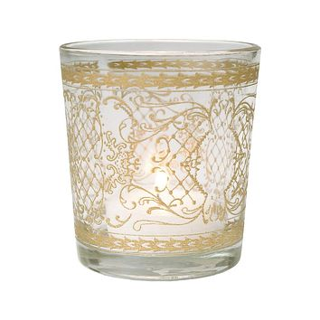 Glass Candle Holder (3.5-Inch, Sarah Design, Clear, Scrolling Gilded Accents) - For Use with Tea Lights - Home Decor, Parties and Wedding Decorations