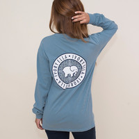 Classic Fit Cameo Blue Floral Medallion Tee