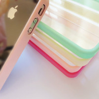 SALE 80-20%OFF: Pastel Colors Collection with Transparency plastic back cover for iPhone 4 protective cases with Easy and simple Pastel