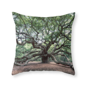 Society6 Oak Of The Angel Throw Pillow