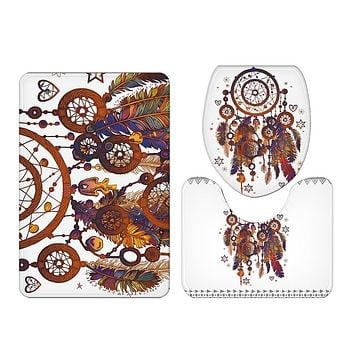 BeddingOutlet Dreamcatcher Bath Mat 3pcs Non-slip Bohemian Mat Set for Bathroom Watercolor Toilet Seat Cover Rug