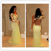 New Long Prom Dresses,One Shoulder Formal Evening Dress,Lace Mermaid Long Prom Dress,Custom Made Wedding Party Dresses 2014