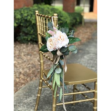 Aisle maker pew chair lantern flower - Blush Pink ivory with greenery rustic quality flowers