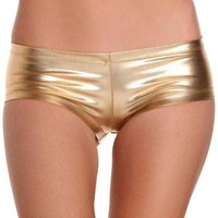 Be Wicked IS-BW1020 Shiny Lycra fabric booty shorts Gold XL Black S