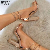 Big size34-43  Women Heeled Sandals Bandage Rhinestone Ankle Strap Pumps Super High Heels 11 CM Square Heels Lady Shoes